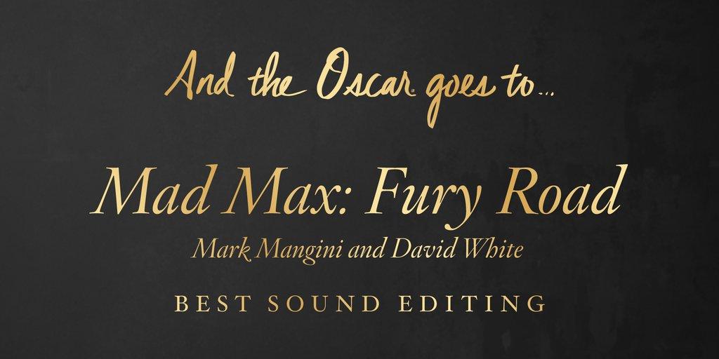 Cel mai bun montaj de sunet - Mad Max (5 premii)