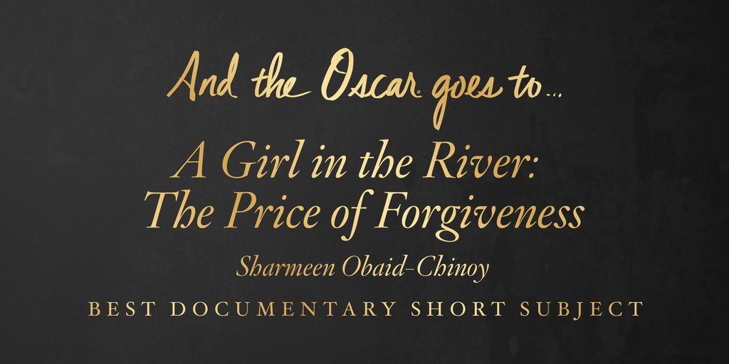 "Cel mai bun scurtmetraj documentar – ""A Girl in the River: The Price of Forgiveness"""