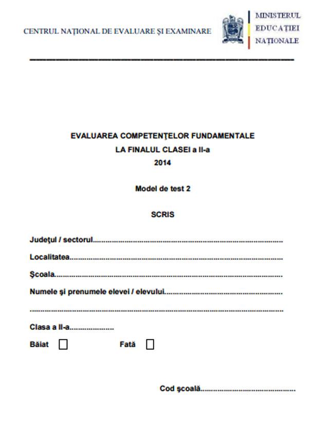EVALUARE NATIONALA 2016 - MODEL LA LIMBA ROMANA