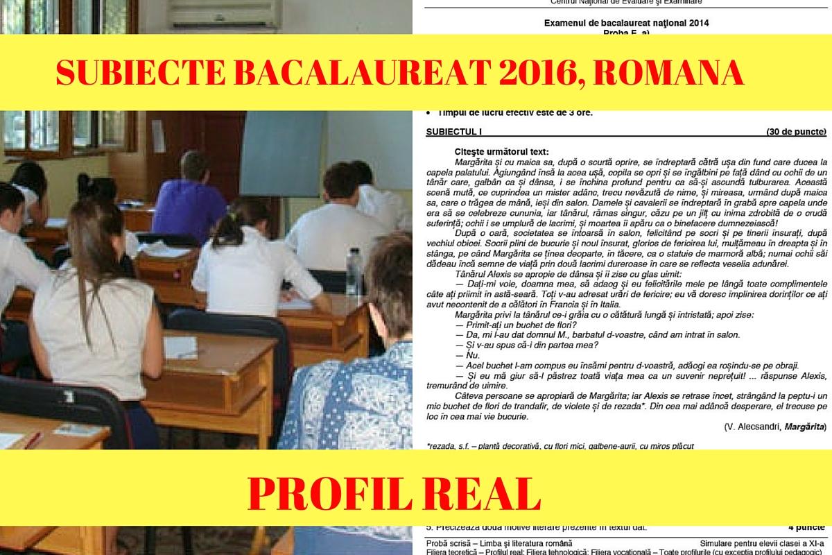 Subiecte Bac 2016 Romana real. Elevii de la profilurile real si tehnologic sustin proba scrisa la limba romana pe 4 iulie. Vezi ce subiecte s-au dat!