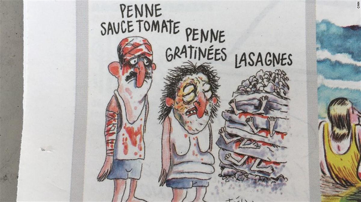 Charlie Hebdo, celebra revista de satira din Franta, a devenit tinta unor critici aprinse ca urmare a unor caricaturi despre cutremurul din Italia.