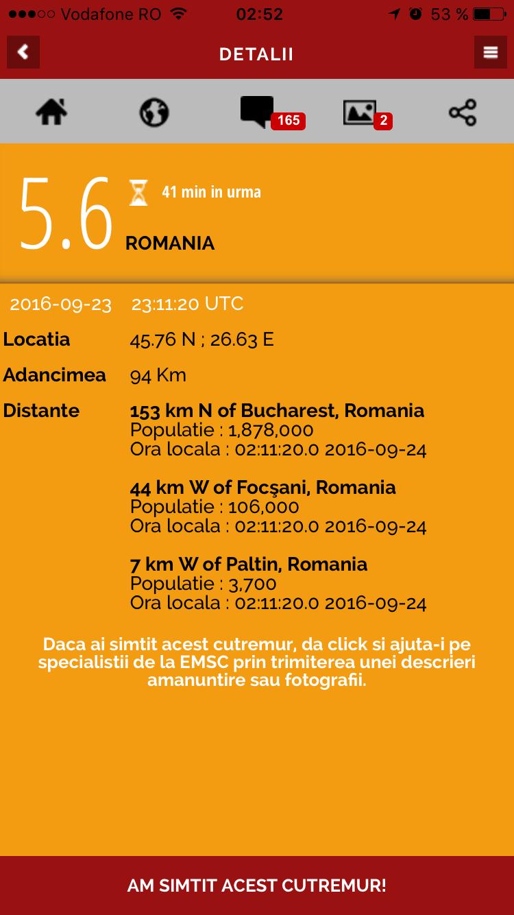 Cutremur in Romania de 5.6 grade