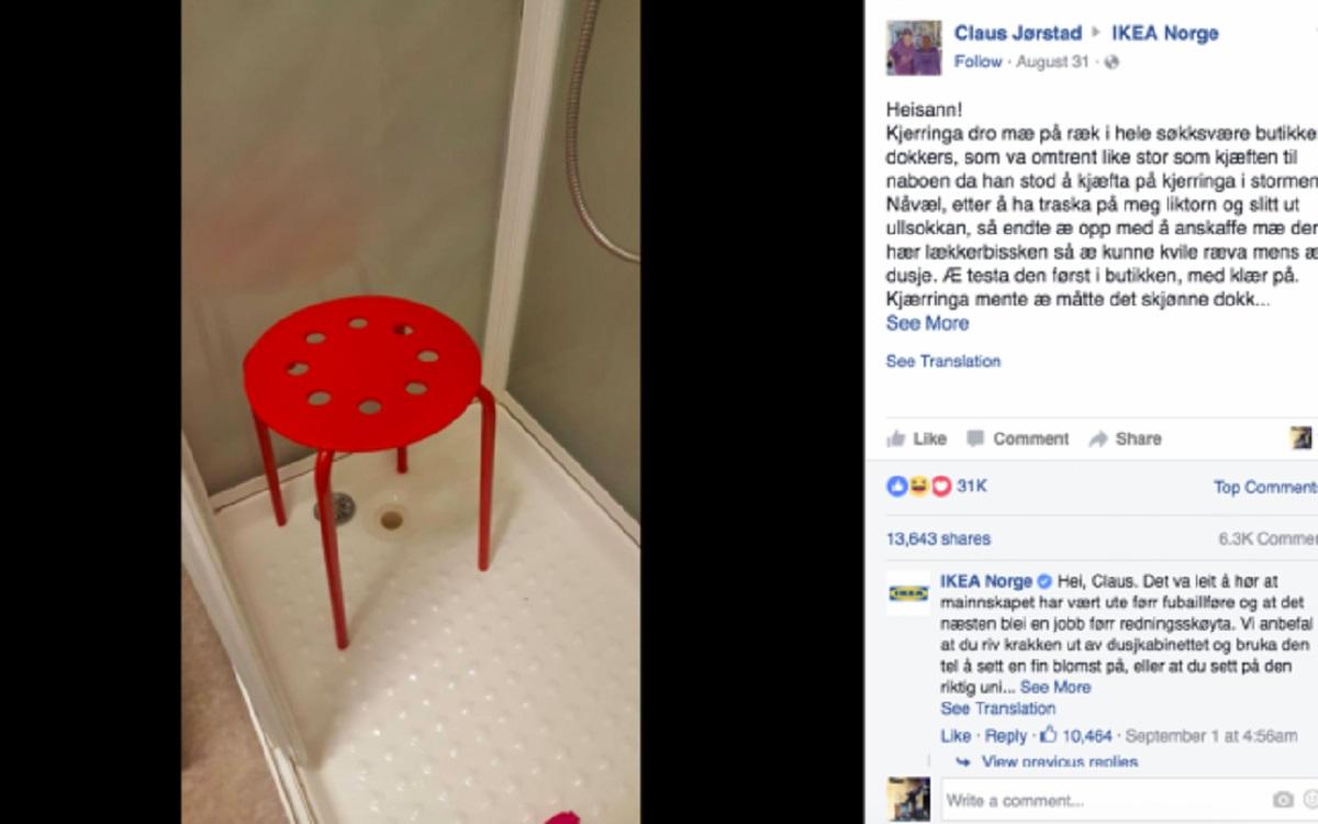Incident din cauza unui scaun cumparat de la Ikea