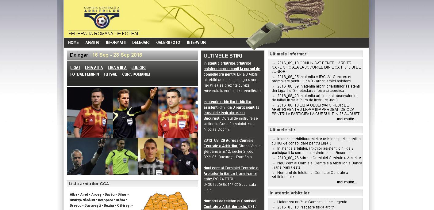 Site-ul Comisiei Centrale a Arbitrilor din România, atacat de hackeri: Pe pagina de start a apărut scris Albania