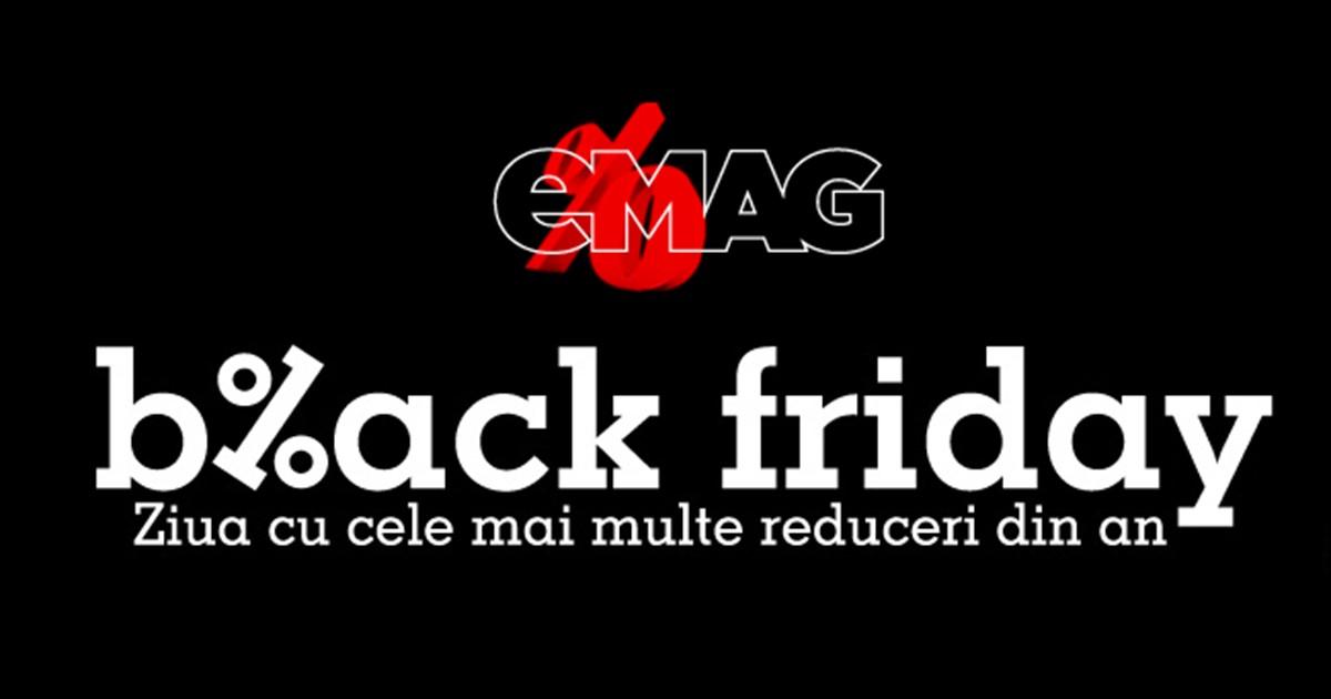 Black Friday 2016 eMAG. Retailerul eMAG a precizat că va organiza evenimentul Black Friday 2016 în data de 18 noiembrie, anunțând și oferte promoționale.