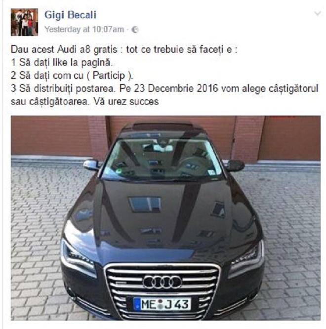 """Gigi Becali, victima unei înșelăciuni pe Facebook: """"Dau o mașină de lux gratis"""""""
