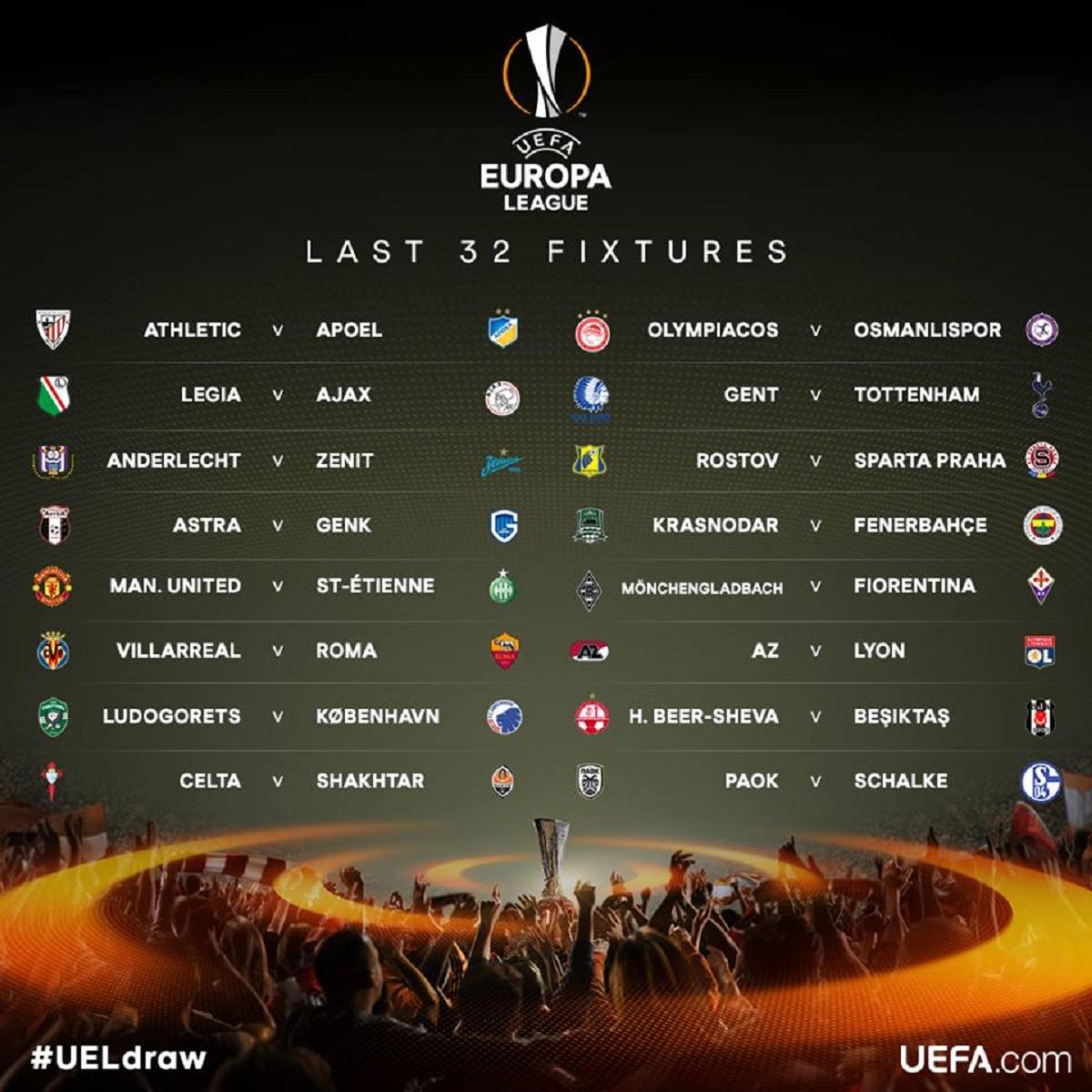 UEFA Europa League și-a ales astăzi tabloul 16-imilor. Sorții au adus față în față multe echipe puternice. AS Roma-Villarreal, Anderlecht-Zenit.