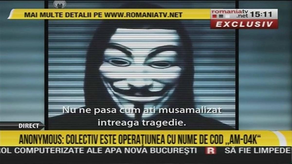 Postul de televiziune România TV a fost amendat de CNA cu suma de 30.000 de lei, după difuzarea unui presupus material video al grupării Anonymous.