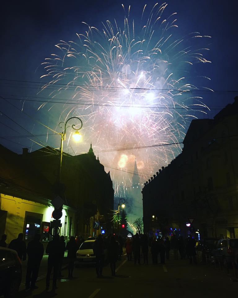 Focuri de artificii în Cluj Napoca, Revelion 2017