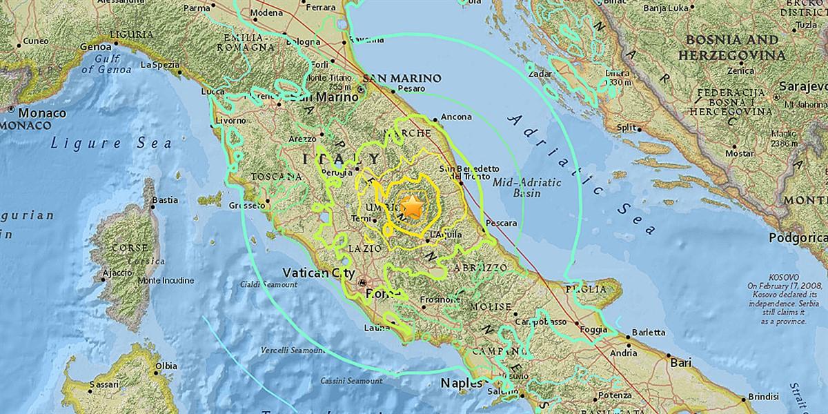 Cutremur în Italia 18 ianuarie 2017. Seismul s-a produs la 36 de kilometri de localitatea L`Aquila și la 110 km distanță de Roma.