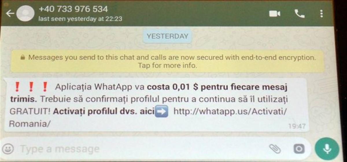 Mai mulți utilizatori de Whatsapp au căzut victime ale unei campanii de phishing, după ce au primit un mesaj care îi îndemna să-și actualizeze profilul.