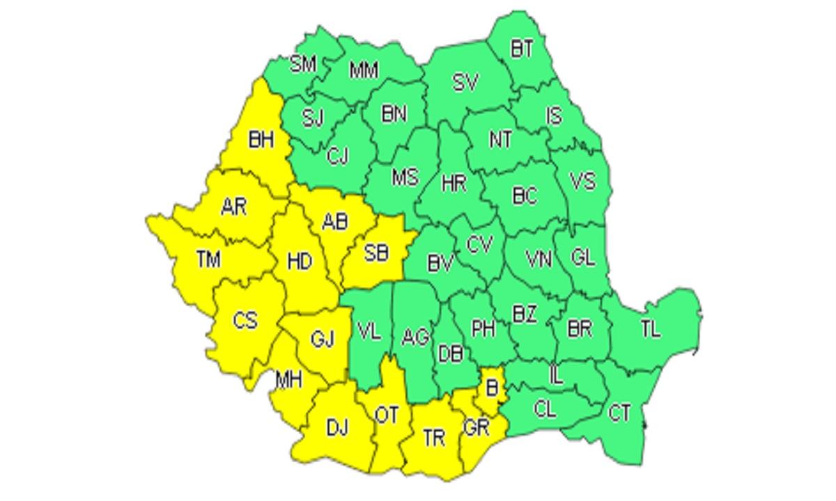 Administrația Națională de Meteorologie a emis cod galben de caniculă. Acesta se va extinde până marți 11 iulie 2017.