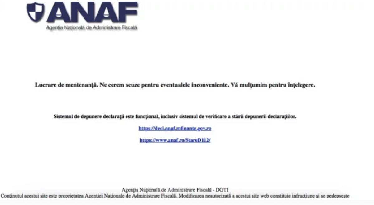 Site-ul ANAF a căzut. Cum se desfășoară procesele de depunere a declarațiilor fiscale