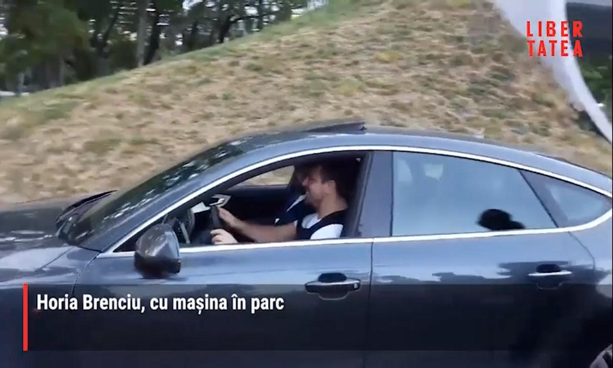 Horia Brenciu nu ține cont de nimic! Cu mașina prin parc