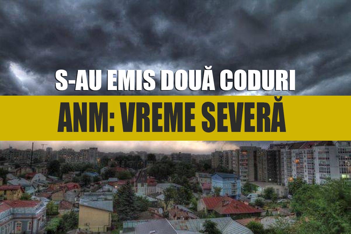 Cod galben și portocaliu de averse şi descărcări electrice în Cluj și alte opt județe, inclusiv la munte