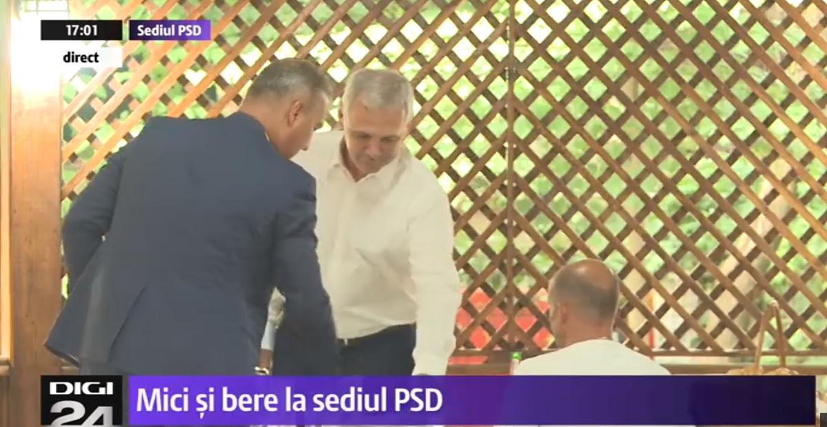 Mici și bere la sediul PSD! Liviu Dragnea și un gălățeanul Bogdan Lungu, la o masă cu jurnaliștii