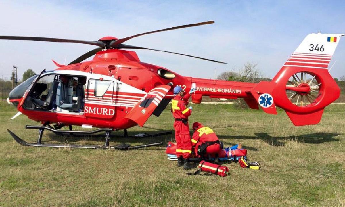 Accident în Olt. Un copil a fost transportat la spital cu elicopterul