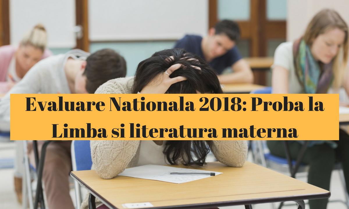 Evaluare Naţională 2018: Proba la Limba şi literatura maternă
