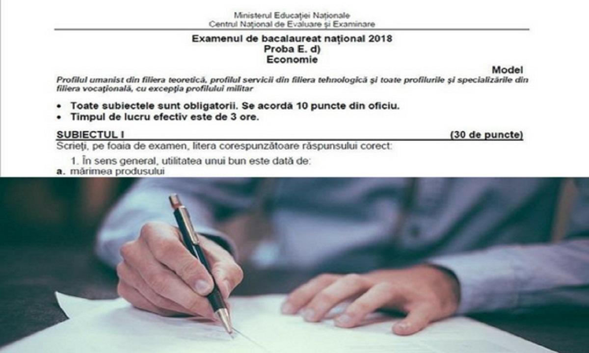 Subiecte Economie Bacalaureat 2018 și barem de corectare