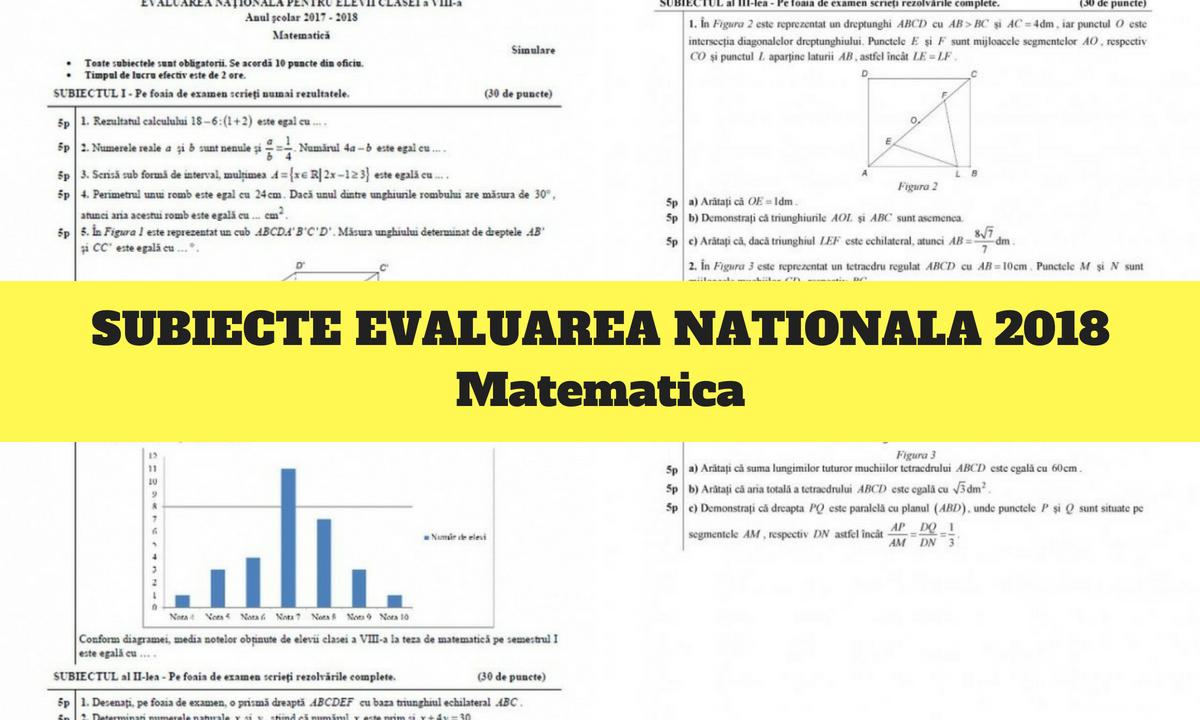 Subiecte Evaluare Națională 2018 matematică. Ce a picat la proba scrisă din 13 iunie