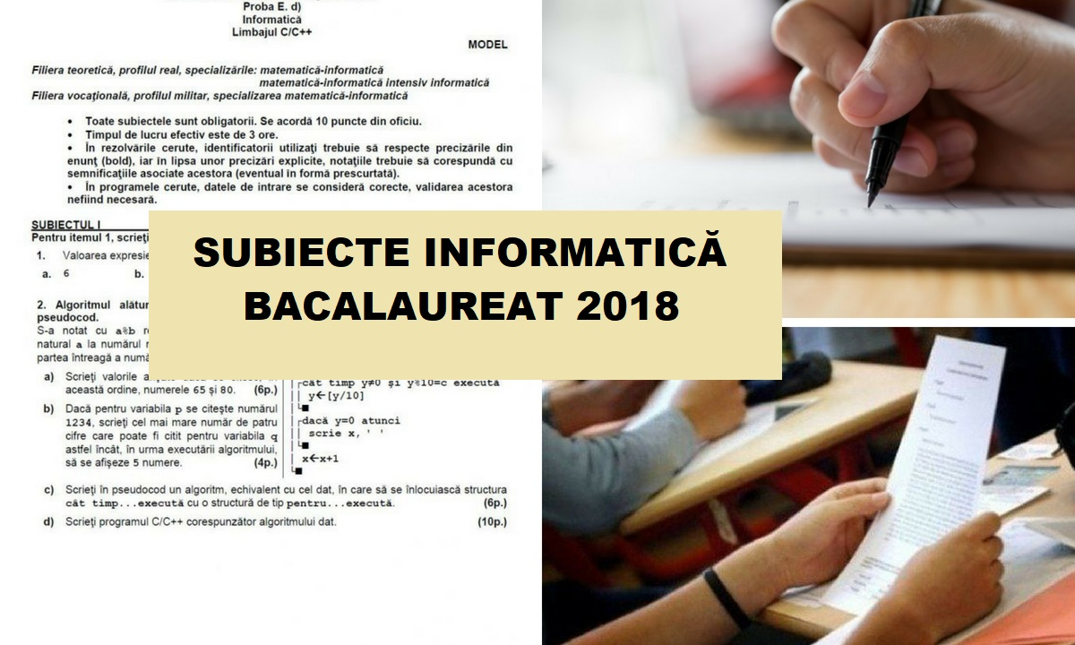 Subiecte Informatică Bac 2018 - Bareme și corectare