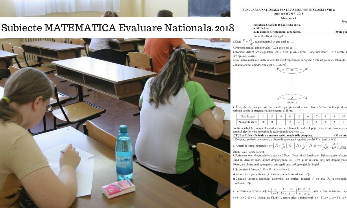 Subiecte Matematică Evaluare Naţională 2018 şi baremul de corectare