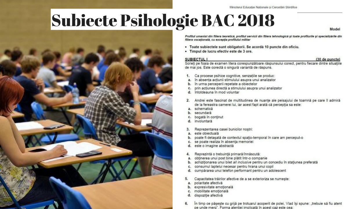 Subiecte Psihologie BAC 2018 și barem de corectare