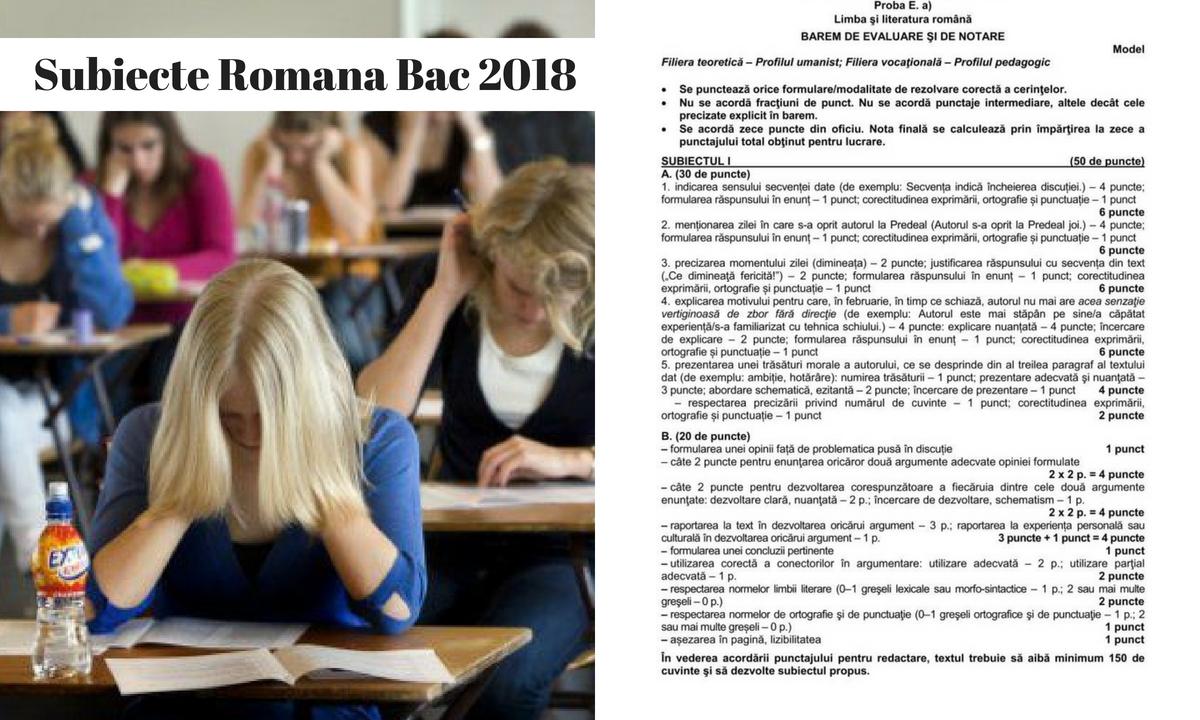 Subiecte Română BAC 2018 și barem de corectare - Real și Uman