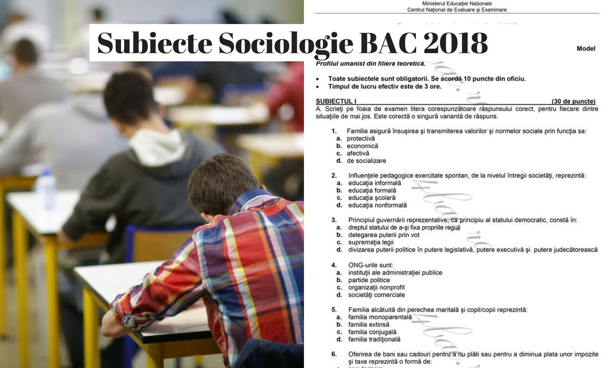 Subiecte Sociologie BAC 2018 și barem de corectare