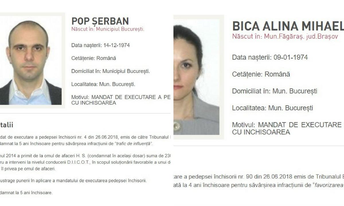Fostul președinte al ANAF, Șerban Pop, și Alina Bica au fost dați în urmărire generală de Poliția Română