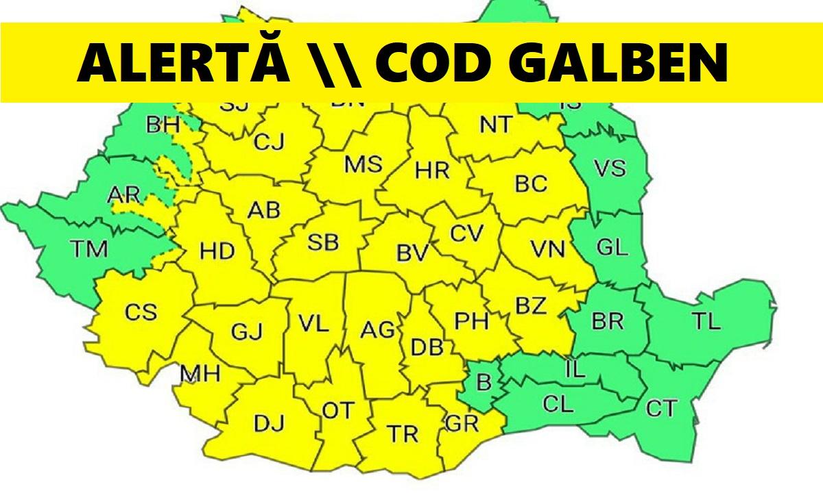 Cod galben. Va ploua torențial în aceste zone