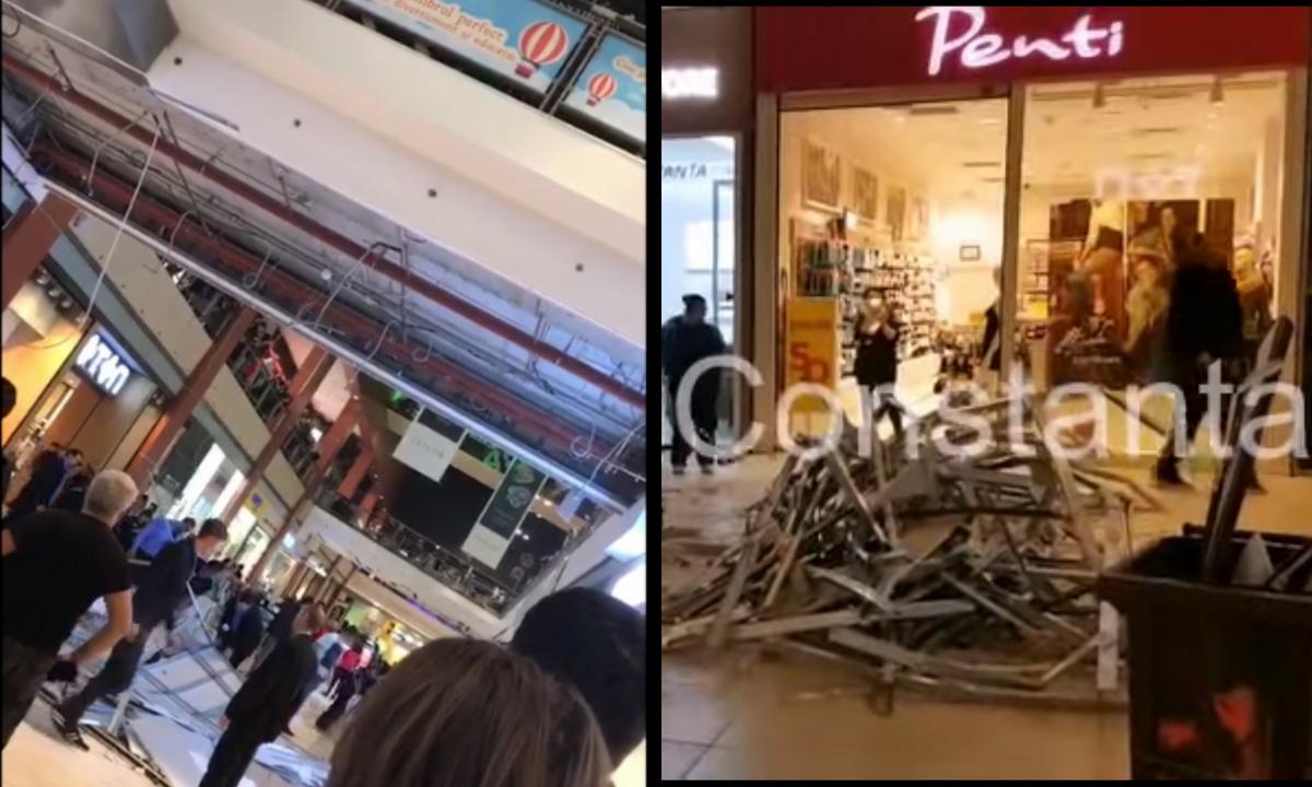 Panică într-un mall din Constanța! Tavanul s-a prăbușit