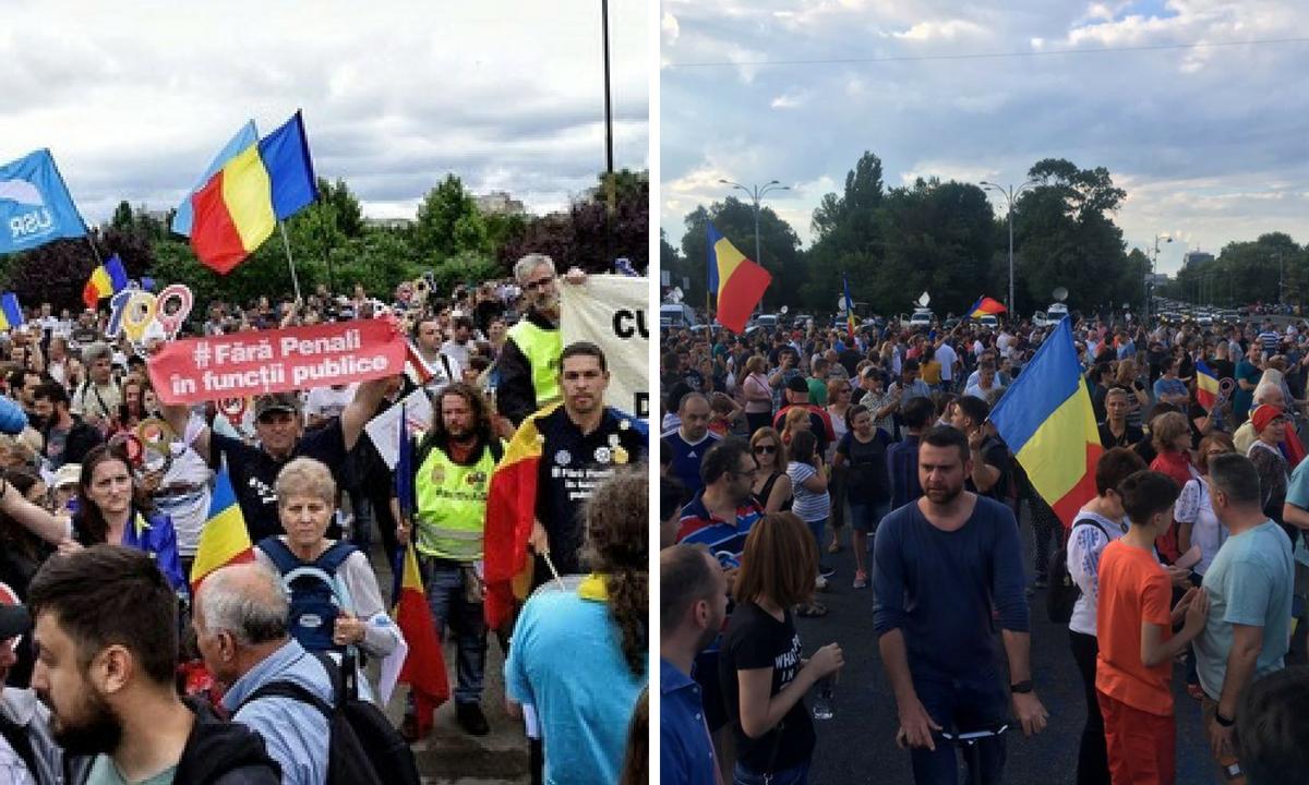 Protest în Piața Victoriei, după ce au fost adoptate modificările la codurile penale