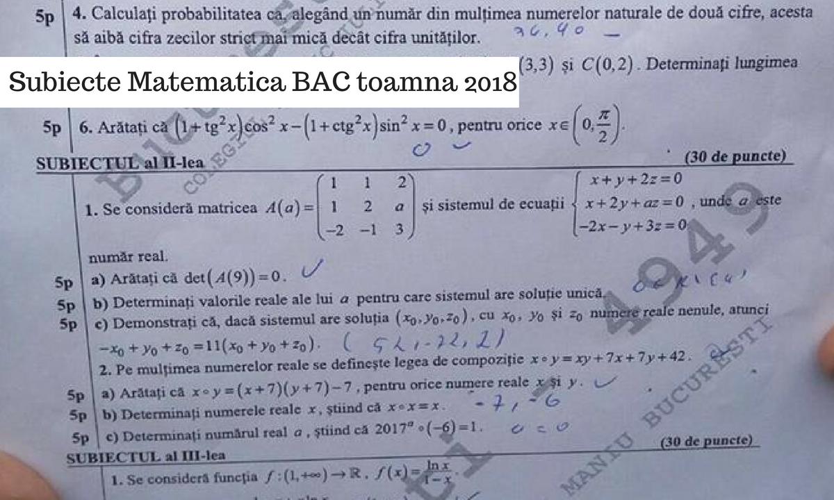 Subiecte Matematică BAC toamnă 2018