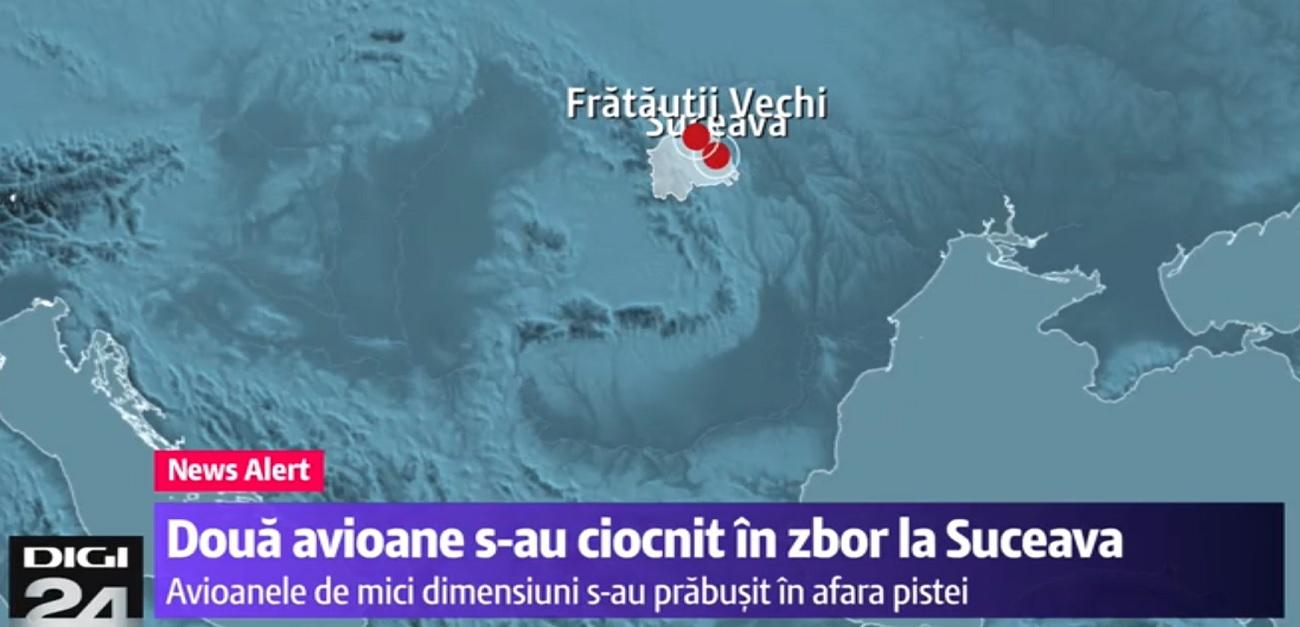 Suceava: Două avioane s-au ciocnit în zbor, în apropiere de Rădăuți