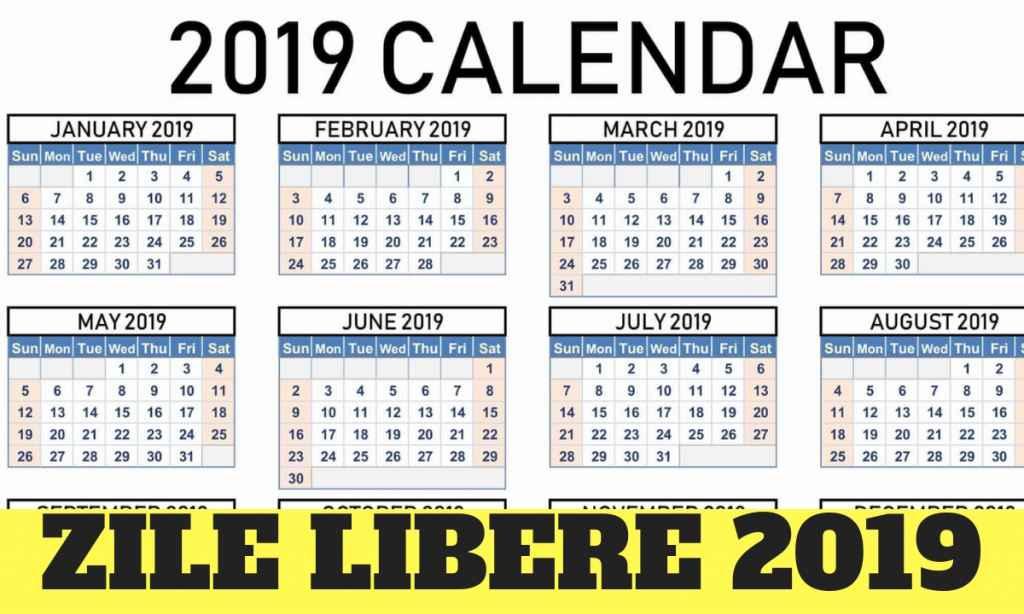 Zile libere 2019. Când nu se lucrează (calendar)