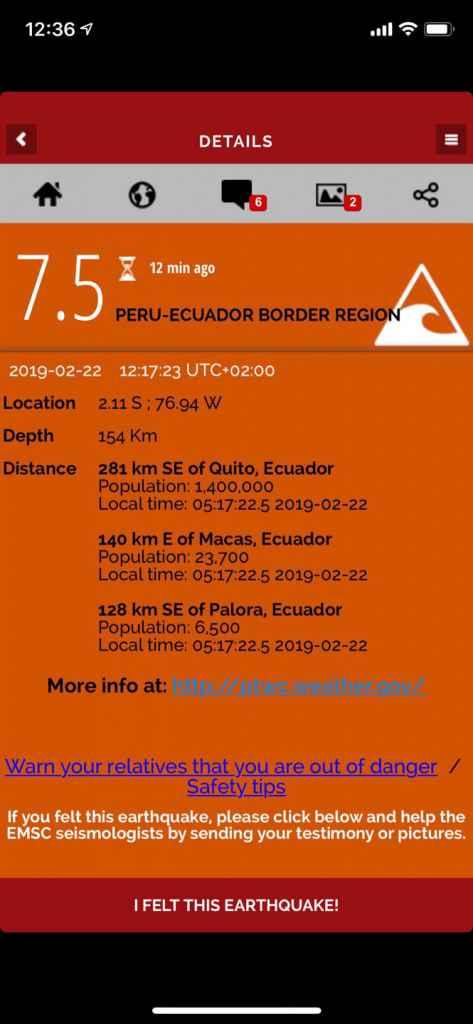 Cutremur de 7.5 grade în Peru, 22 februarie 2019