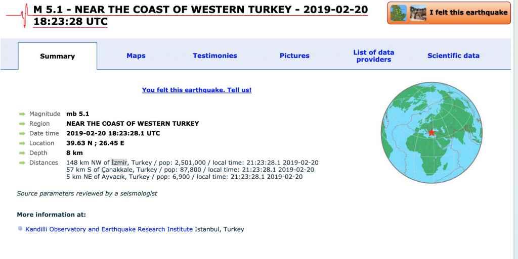 Cutremur Turcia 5.7 grade pe scara Richter în 20 februarie 2019