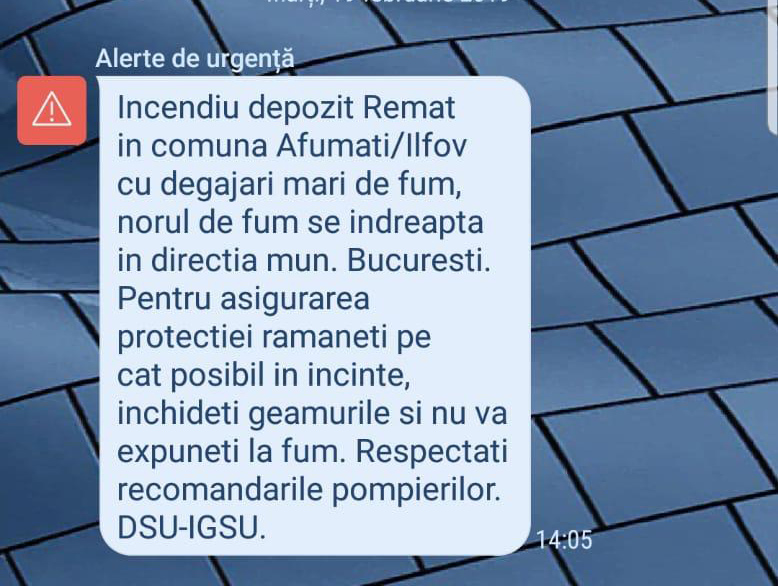RO-Alert trimis astăzi 19 februarie 2019