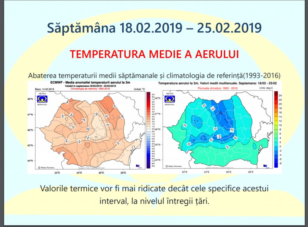 Prognoza ANM vremea în perioada 18 - 25 februarie 2019