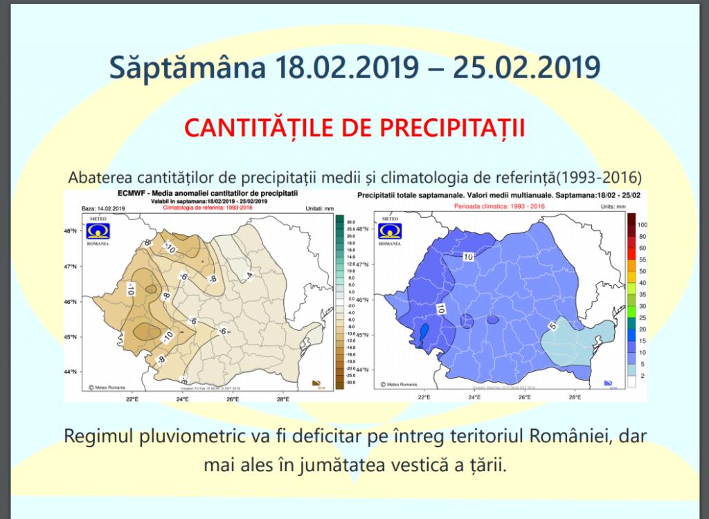 Vremea 18-25 februarie. Nivelul de precipitații