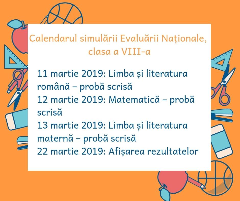 Calendar Simulare Evaluarea Națională 2019