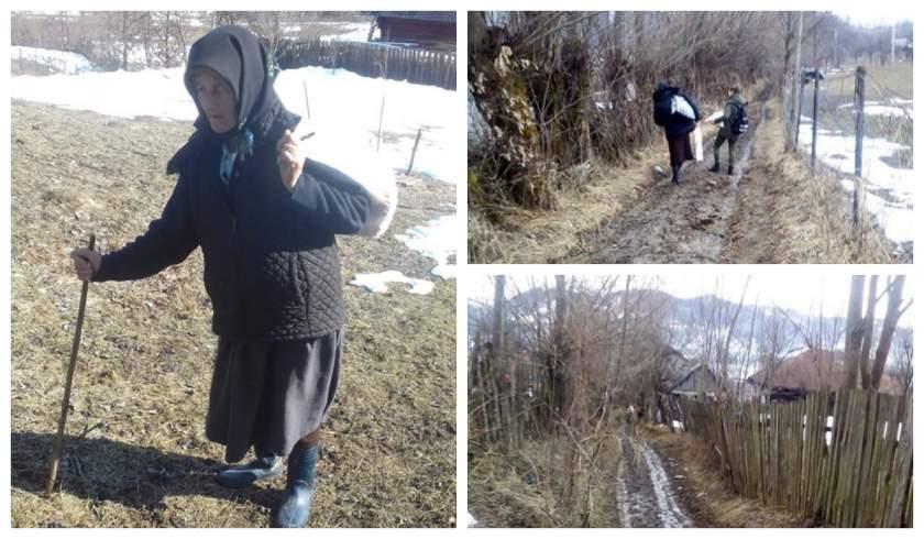 O bătrână dintr-un sat din Maramureş pleacă dimineaţă după pâine, peste dealuri, şi ajunge seara