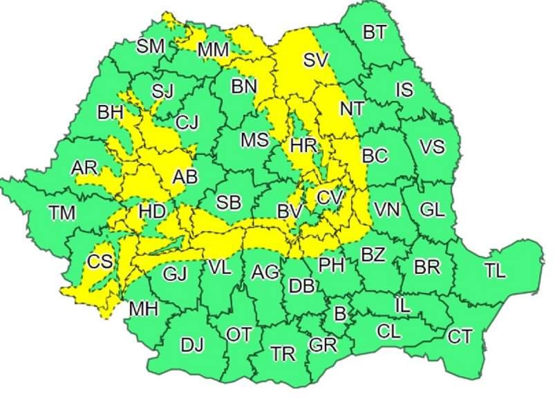 De asemenea, este cod galben de vânt, până la ora 11.00, în judeţele Alba, Mureş, Vâlcea, Gorj, Braşov, Covasna, Harghita şi Sibiu.