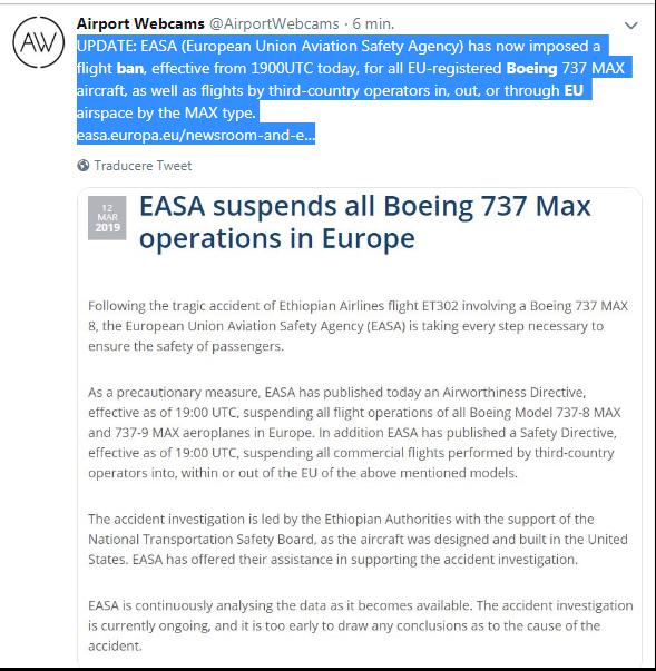 Zborurile Boeing 737 Max, suspendate în Uniunea Europeană