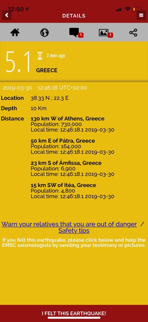 Cutremur în Grecia 30 martie 2019