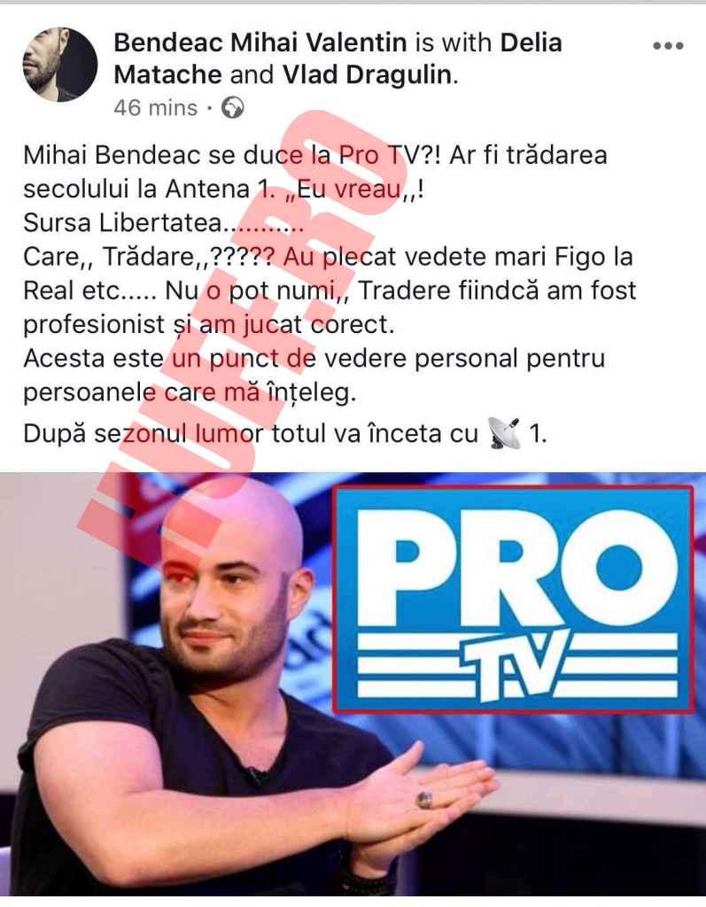 """Mihai Bendeac """"Contractul meu cu Antena 1 se încheie"""" o nouă postare controversată pe Facebook despre plecarea la Pro TV"""