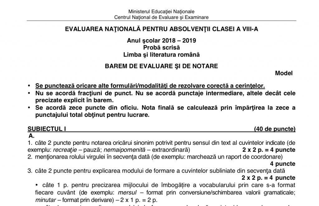 Barem Simulare Romana 2019 Detail: Subiecte Evaluarea Națională 2019 Limba Română. Avem
