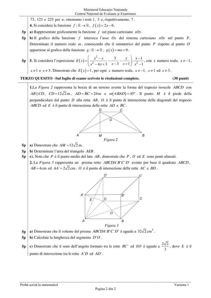 Barem Matermatica Evaluarea National 2019