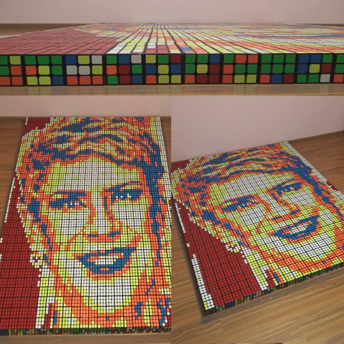 Teo Trandafir a primit un cadou unic! Un portret format din 720 de cuburi Rubik